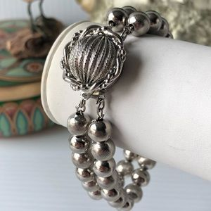 Vintage Silvertone Ball Bracelet boho chic